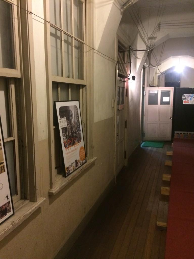 hallway of make-shift cinema house (former elementary school)