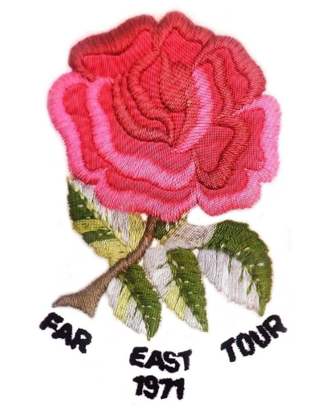 The Embroidered Rose Badge of England's Rugby Jersey for the Far East Tour in 1971-- when I was a student, I like the team so much that I even hand dyed a similar rose mark on the chest of my white practice jersey to mimic the national team's real one. The image shown here was taken from a scene of a TV program that featured the very first test match, England vs Japan. (from Instagram)