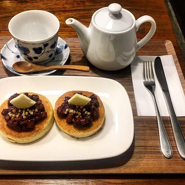 久々のさらざん&つながりカフェsobanomi やっぱあんバターは美味いなあ!あ、土台の蕎麦粉パンケーキあってこそだけど、、、^_^ (from Instagram)