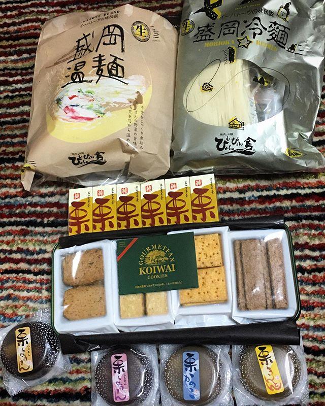 盛岡温面、盛岡冷麺、小岩井クッキー、岩谷堂羊羹、栗きんとん、、、 昔の恋人から届く。 (from Instagram)